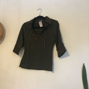 Wet seal leather lace up blouse